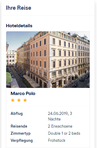 Lufthansa Holidays 30 Euro Rabatt | Buchungsübersicht - Hoteldetails