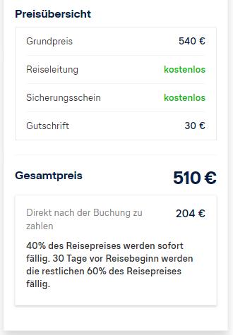 Lufthansa Holidays 30 Euro Rabatt | Buchungsübersicht - Preisübersicht
