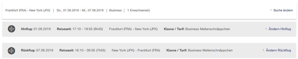 Beispiel für Meilenschnäppchen | FRA-JFK - Hin- und Rückflug