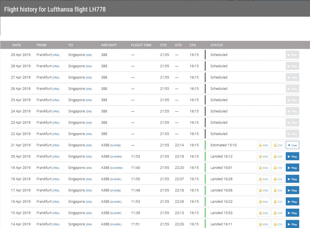 FlightRadar24 | Datenbanksuche Ergebnis
