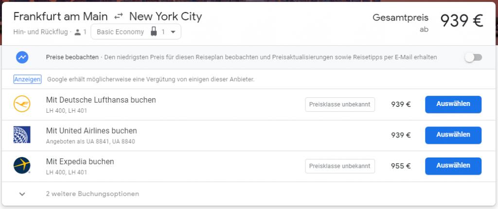 Anbieterauswahl bei Google Flights