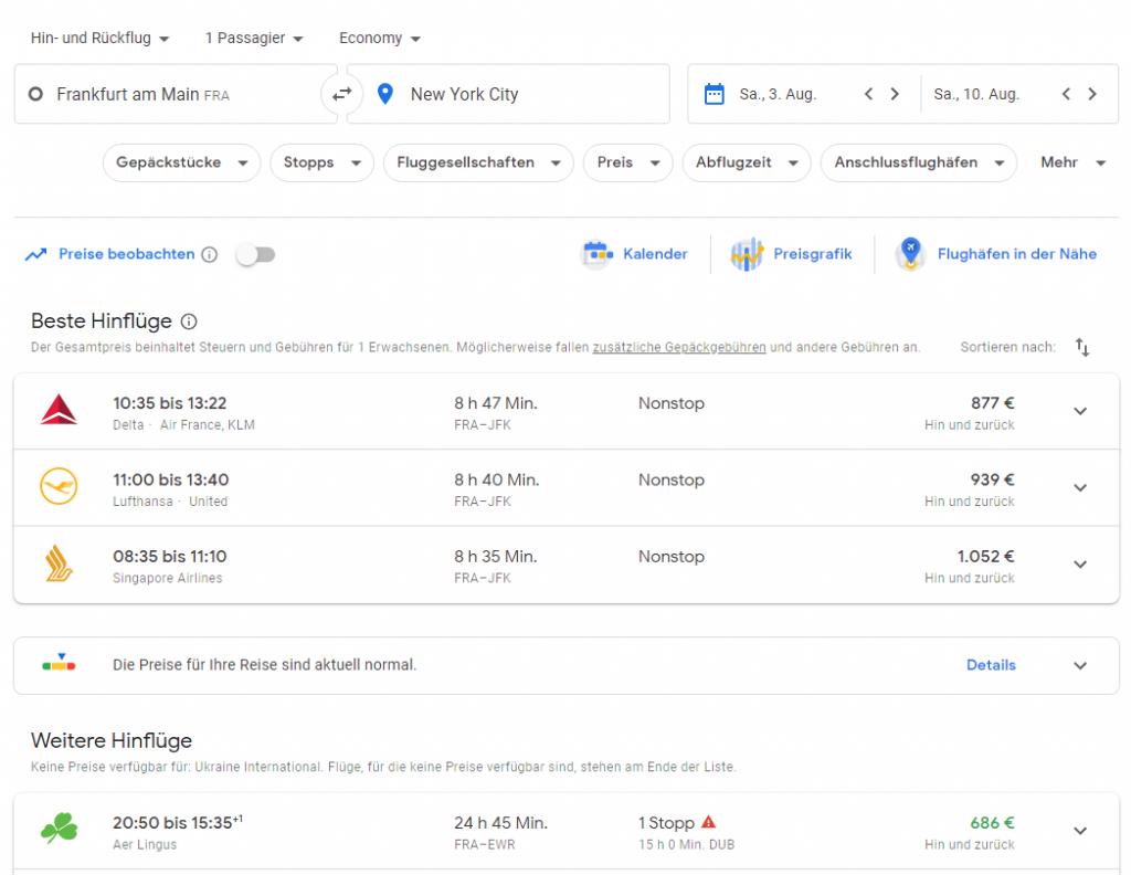 Flugsuche mit Google Flights