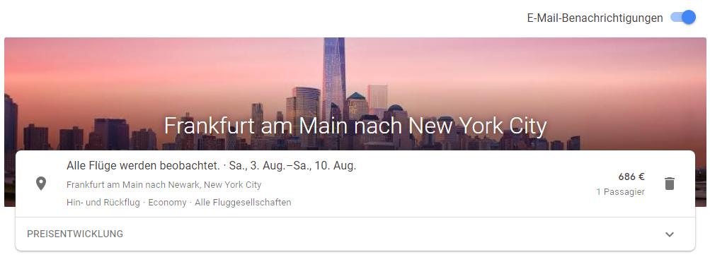 Preisbeobachtung mit Google Flights