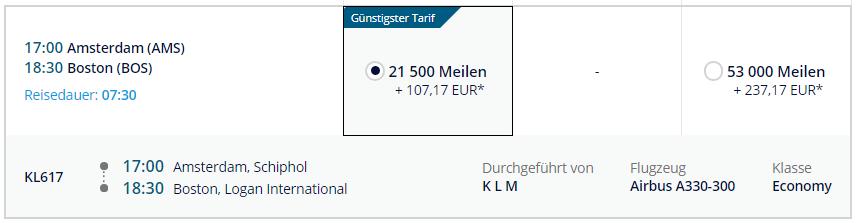 KLM   AMS - BOS mit Meilen