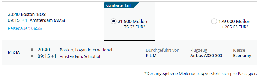 KLM   BOS - AMS mit Meilen