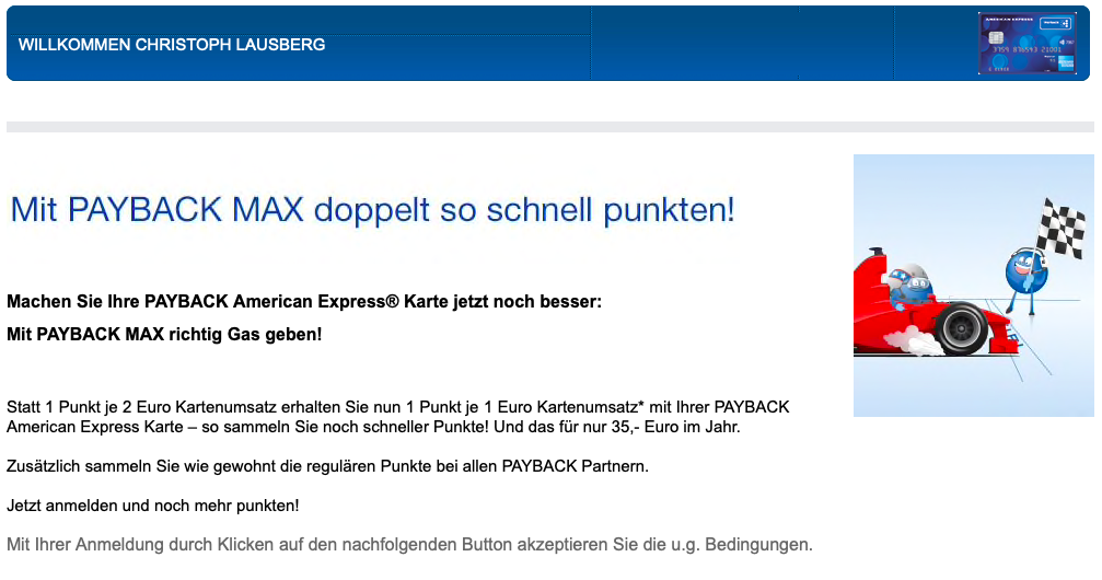 Payback Karte Anmelden.Payback Max Der Punkte Turbo Fur Die American Express