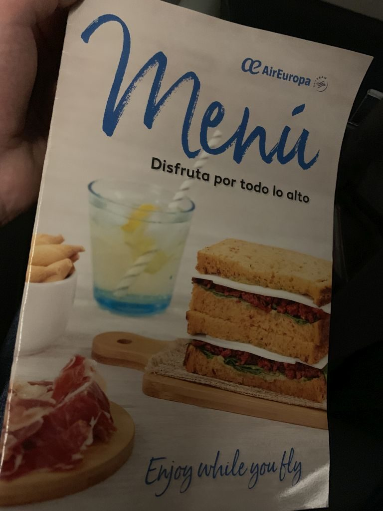 Buy on Board Menü bei Air Europa.