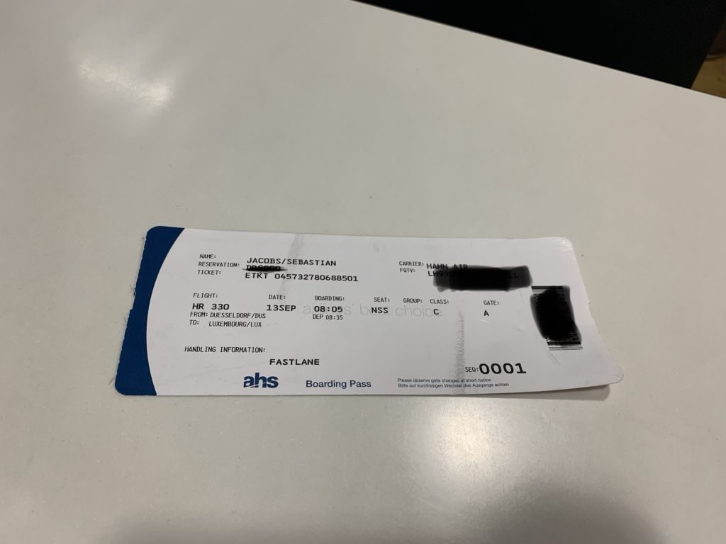 Bordkarte nach Luxemburg ohne Sitzplatznummer