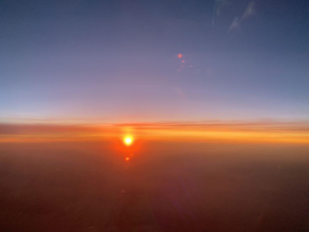 Sonnenuntergang im LATAM Dreamliner.