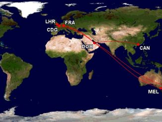 Qatar Airways A380 Ziele mit First Class. Map: gcmap.com
