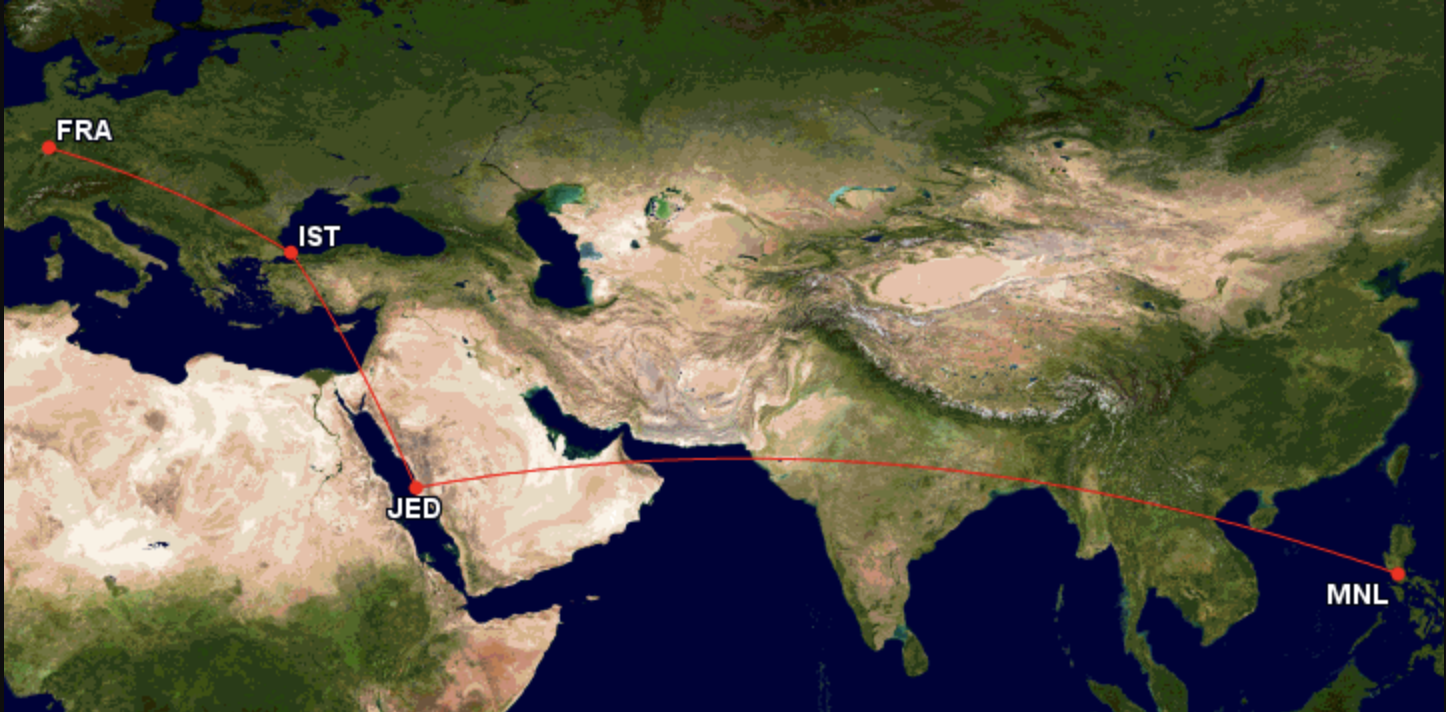 FRA-IST-JED-MNL Route